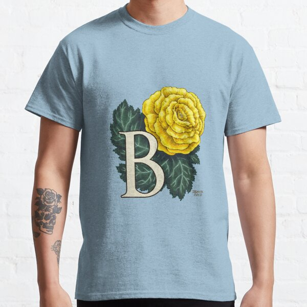 B is for Begonia Flower Monogram Floating Classic T-Shirt