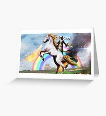Rambo Cat Riding Fire Unicorn Greeting Card