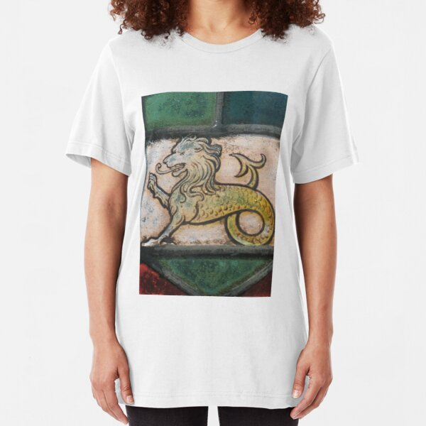 medieval lion dragon stained glass Slim Fit T-Shirt