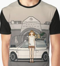 Honda N600 Rally Kei Car With Japanese 60's Asahi Pentax Commercial Girl Graphic T-Shirt