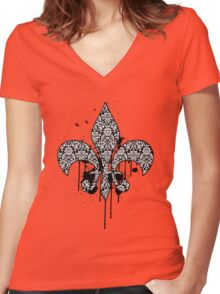 Damask Drips Women's Fitted V-Neck T-Shirt