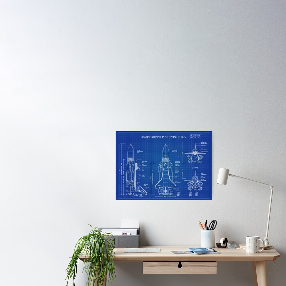 Buran: Soviet Shuttle Orbiter (Blueprint-English) Poster