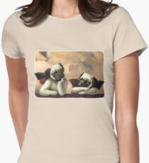Twin Winged Pug Cherubs Womens Fitted T-Shirt