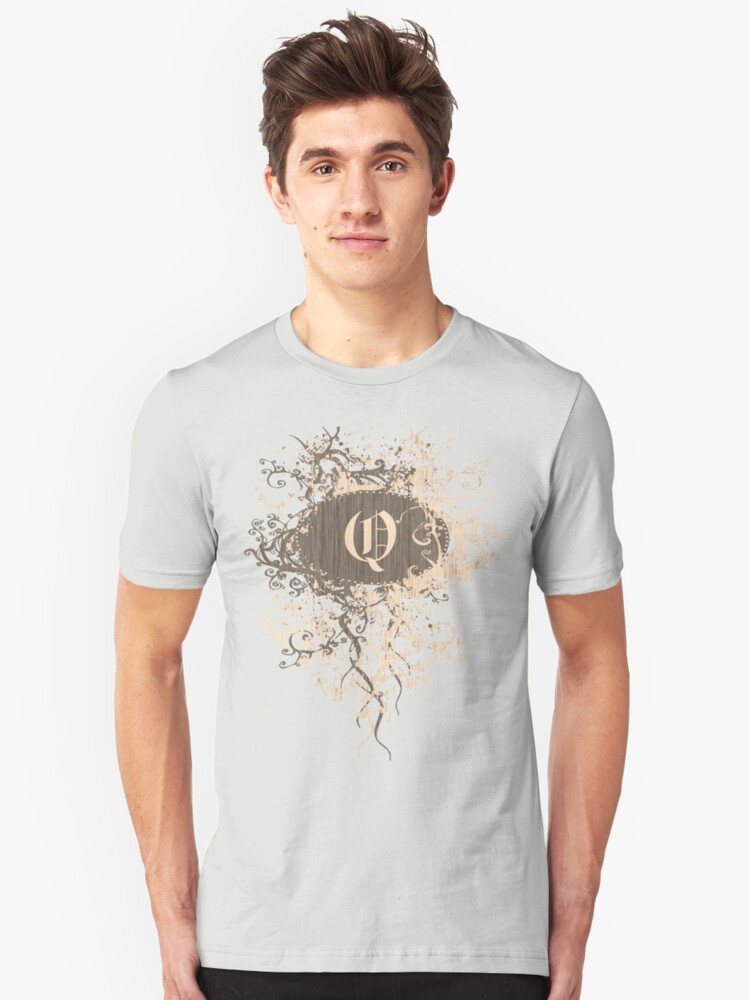 Retro Damask Pattern with Monogram Letter Q Unisex T-Shirt Front