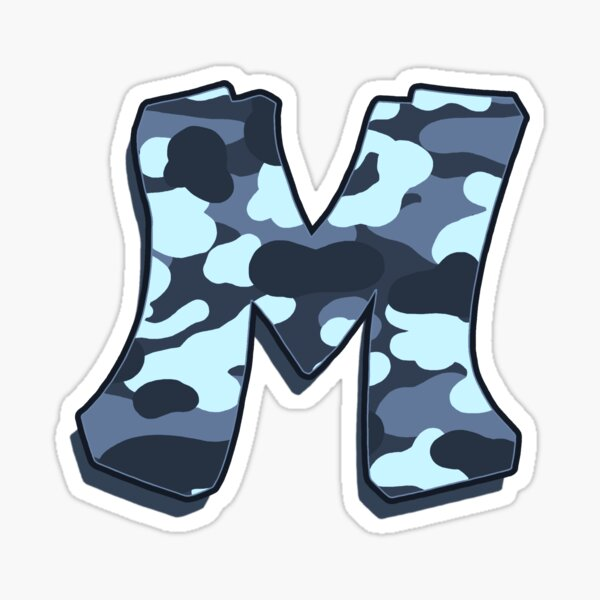 Letter M - Camo Blue Sticker