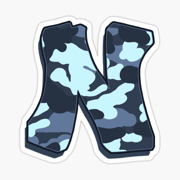 Letter N - Camo Blue Sticker