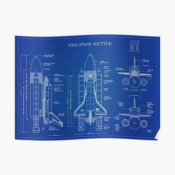 NASA Space Shuttle (Blueprint -English) Poster