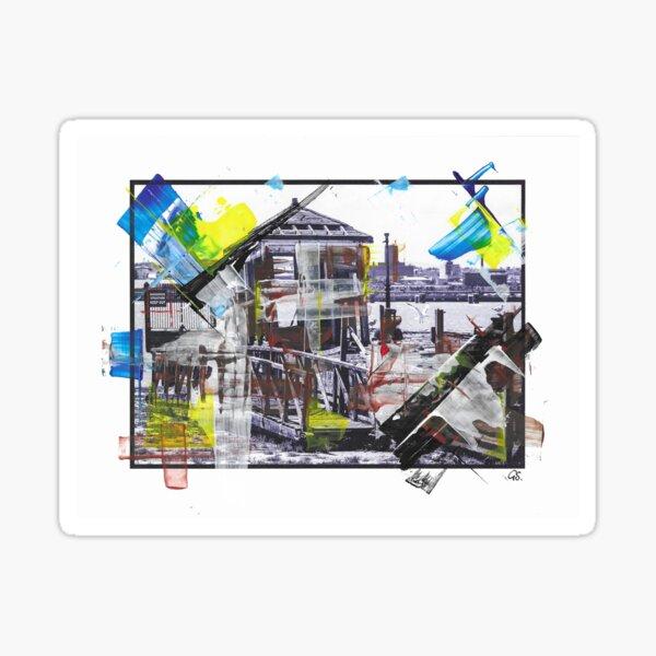WATCHMANS HUT - Derelict Wooden Hut, Pier Head, Liverpool (2011) - overpainted photoart Sticker