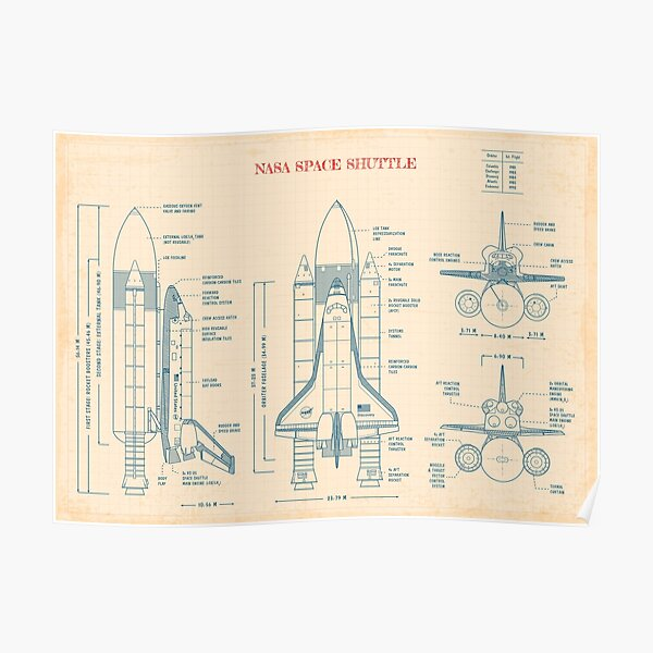 NASA Space Shuttle  (Old Paper Grid) - English Poster