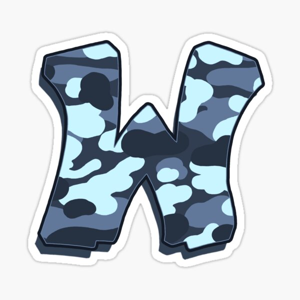 Letter W - Camo Blue Sticker