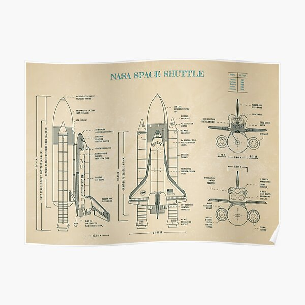 NASA Space Shuttle (Parchment) Poster