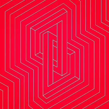 Modern minimal Line Art / Geometric Optical Illusion - Red Version  von badbugs