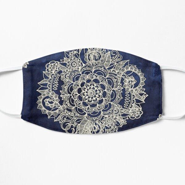 Cream Floral Moroccan Pattern on Deep Indigo Ink Mask