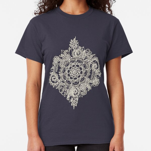 Cream Floral Moroccan Pattern on Deep Indigo Ink Classic T-Shirt