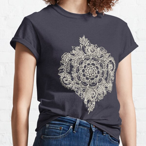 Cream Floral Moroccan Pattern on Deep Indigo Ink Classic T-Shirt
