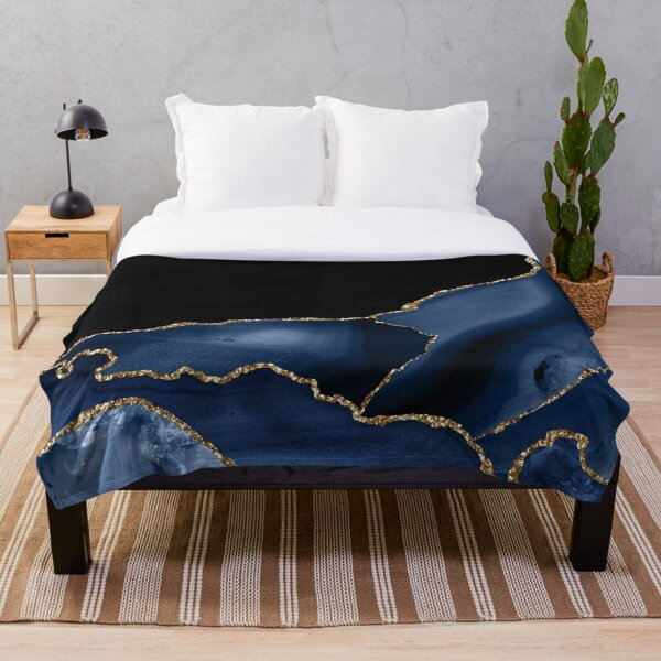 Navy & Gold Agate Texture 03 Throw Blanket