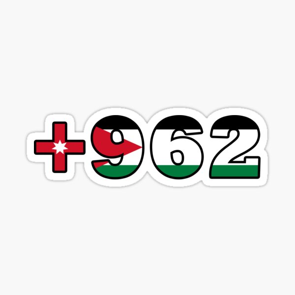 Jordan Country Code with Flag in Stylish Design Sticker