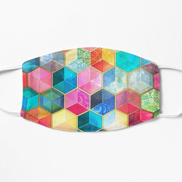 Crystal Bohemian Honeycomb Cubes - colorful hexagon pattern Flat Mask