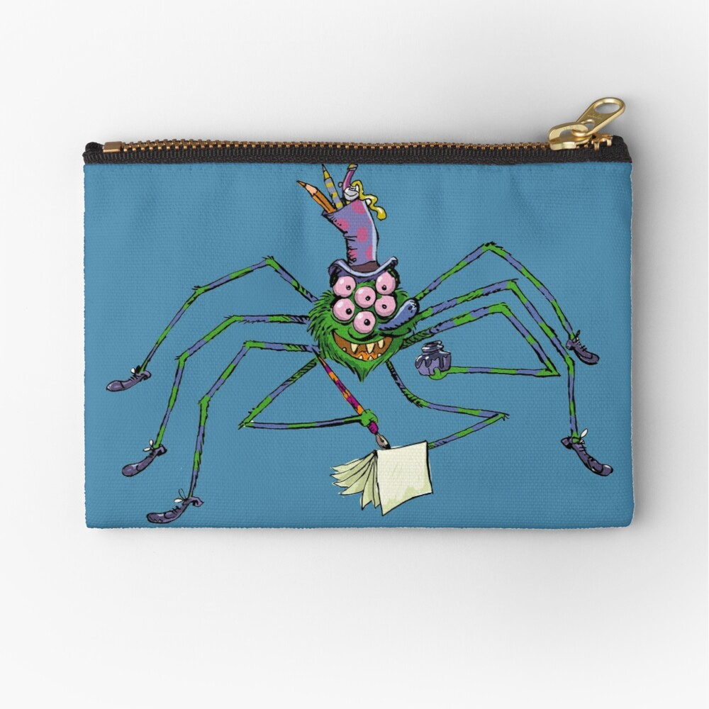 old cartoon spider with a black ink in his hand Zipper Pouch