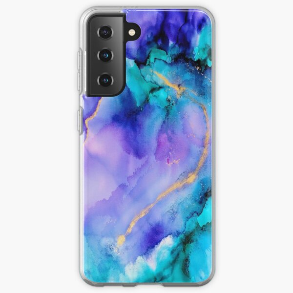 Purple, Blue and Gold Agate stone, Acrylic paint splash Samsung Galaxy Soft Case