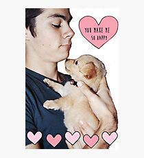 Dylan O'Brien and Puppy Photographic Print