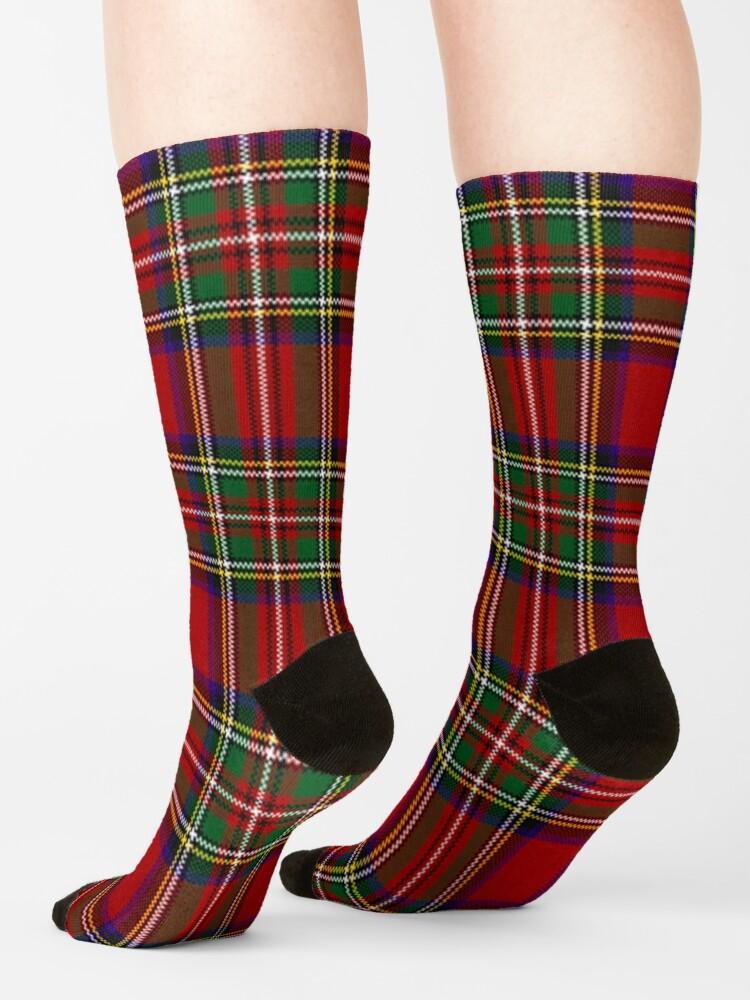 Alternate view of Red Tartan, Stewart Clan Socks