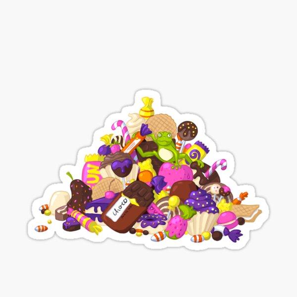 Frosch sitzt auf Süßigkeitenberg Sticker