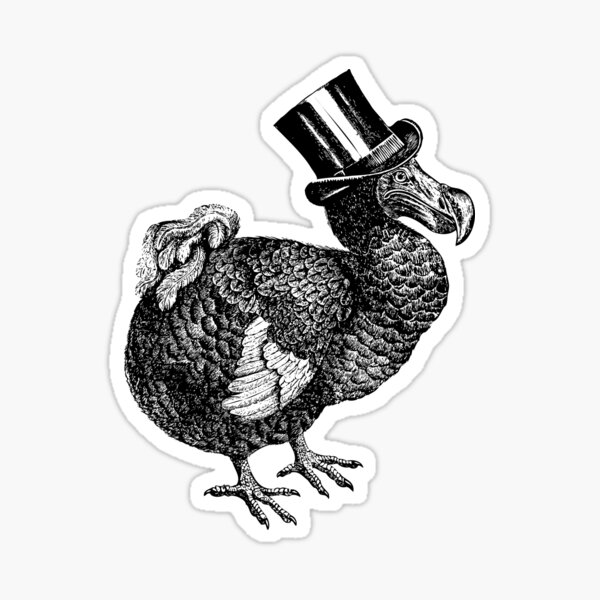 Mr Dodo | Vintage Dodos | Black and White |  Sticker