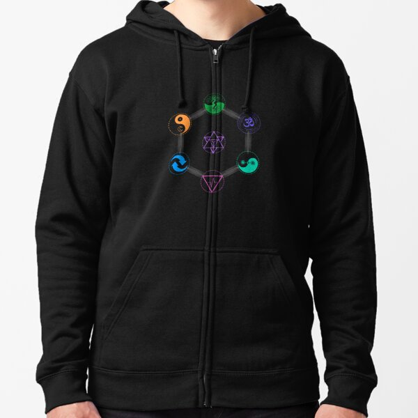 The 7 Universal Principles of Alchemy - Shee Symbols Zipped Hoodie