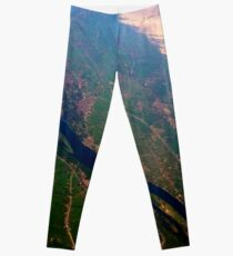 Egypt From Above - The Nile In Bright Color Leggings