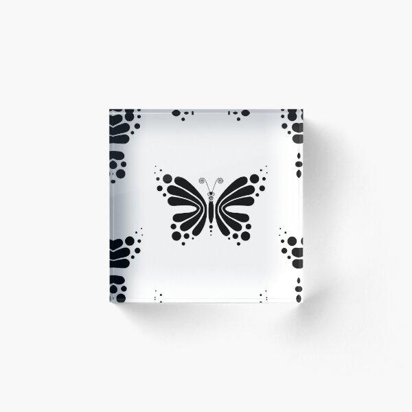 Hypnotic Butterfly B&W - Shee Vector Pattern Acrylic Block