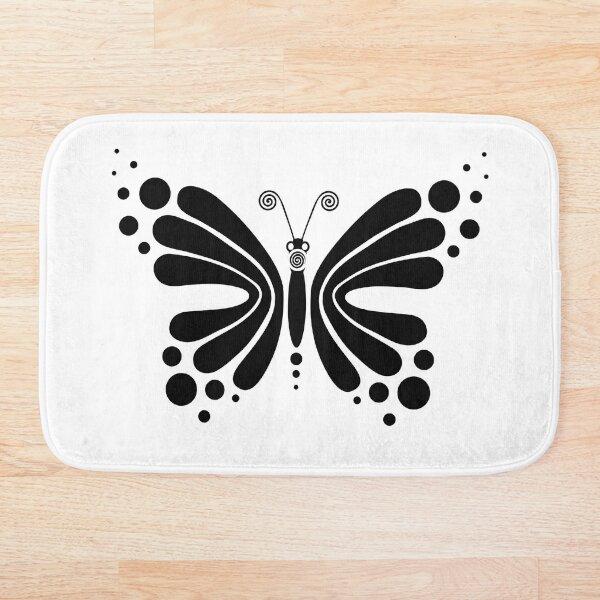 Hypnotic Butterfly B&W - Shee Vector Pattern Bath Mat