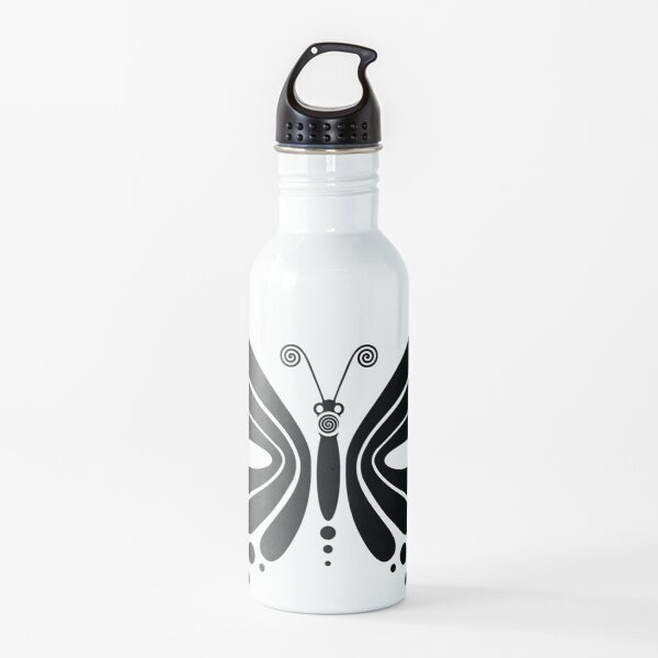Hypnotic Butterfly B&W - Shee Vector Pattern Water Bottle