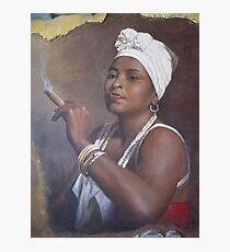 Cuban lady smoking a cigar Photographic Print