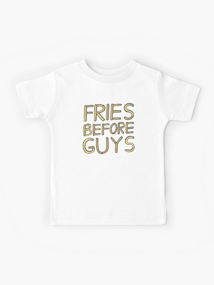 Fries Before Guys Print Rugged Crop Top Teenager Fashion Chips Boys