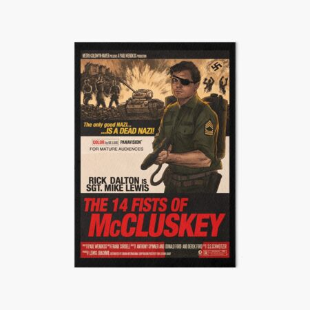 Once upon a time in hollywood - 14 fists of Mcluskey Art Board Print
