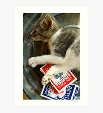 Card Playing Kitty Art Print