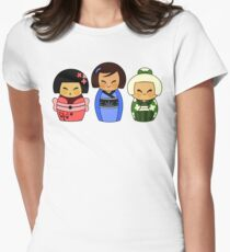 Kokeshis (Japanese dolls) Womens Fitted T-Shirt