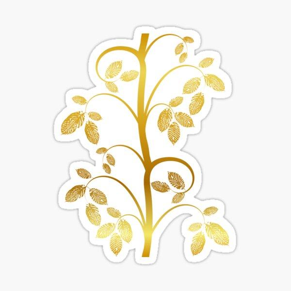 Tendril leaves gold dark blue Sticker