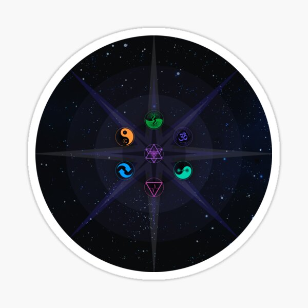 Stars with Colored Universal Principles of Alchemy Symbols Sticker