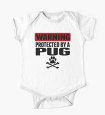 Warning Protected By A Pug One Piece - Short Sleeve