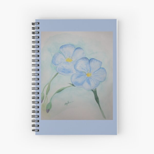 Flowers of Blue Spiral Notebook