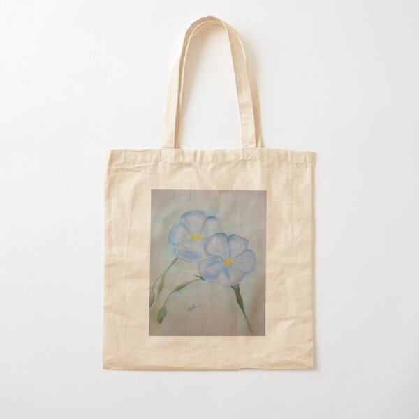 Flowers of Blue Cotton Tote Bag