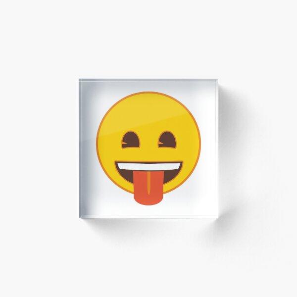 Tongue Out Face Emoji Acrylic Block