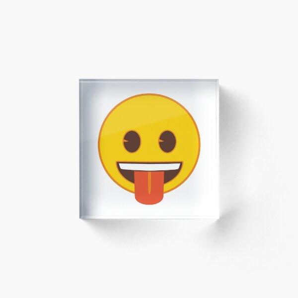 Tongue Out Emoji Acrylic Block