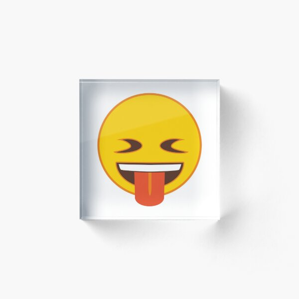 Squinting Face with Tongue Out Emoji Acrylic Block