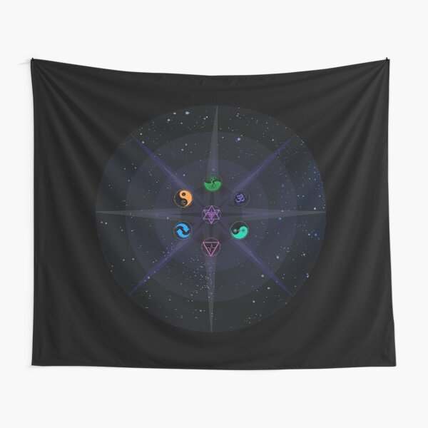 Stars with Colored Universal Principles of Alchemy Symbols Tapestry