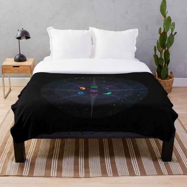 Stars with Colored Universal Principles of Alchemy Symbols Throw Blanket