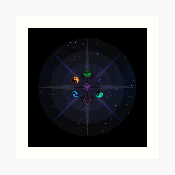 Stars with Colored Universal Principles of Alchemy Symbols Art Print