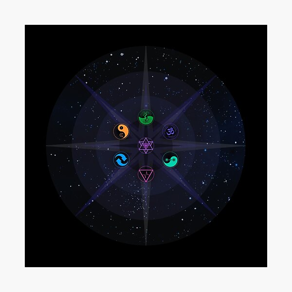 Stars with Colored Universal Principles of Alchemy Symbols Photographic Print